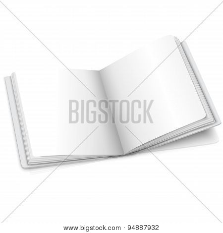 Blank white vector opened book or photo album for your message