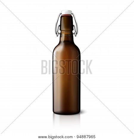 Blank brown realistic retro beer bottle isolated on white background. Vector