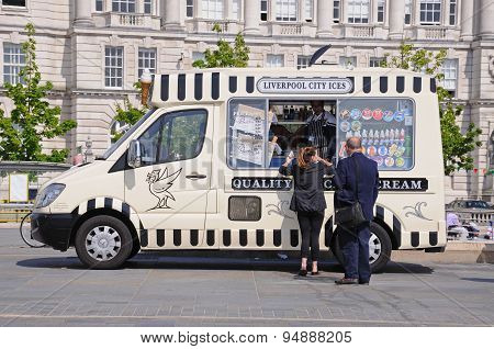 People buying ice cream, Liverpool.