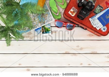 Travel Concept. Sunbed, Sunglass, World Map, Beach Shoes, Sunscreen, Passport, Air Tickets,camera,