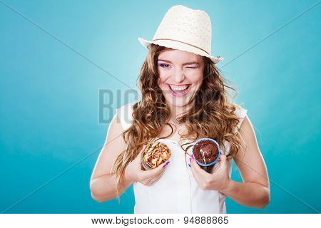 Crazy Summer Woman Holds Cakes In Hands