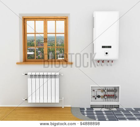White Radiator, Boiler Of Central Heating Is System Heating Floor Heating In A Room With A Window