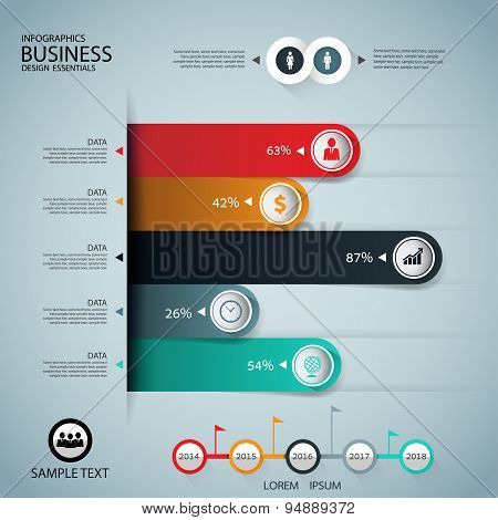 Infographics Business Stair Step Graph Success Vector Design Template Vector.