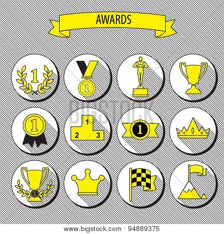 Set Of Vector Award Success And Victory Flat Icons On Round Web Buttons With Trophies Cups Ribbons C