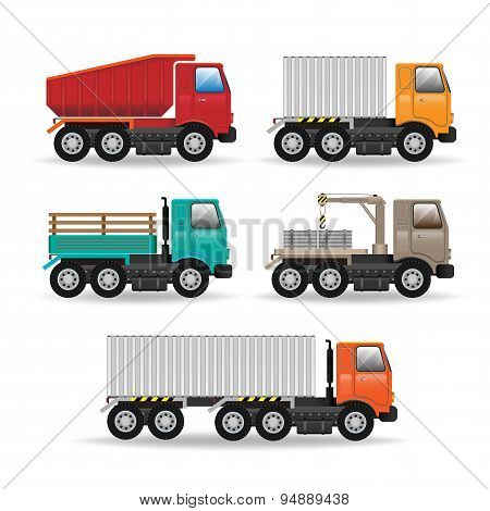 Vector Modern Creative Flat Design Logistics Fleet Vehicles Set Featuring Cargo Trucks