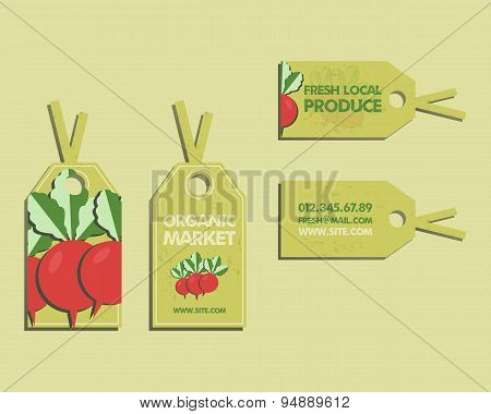 Summer Farm Fresh sticker, template or brochure design with radish. Mock up design with shadow. Best