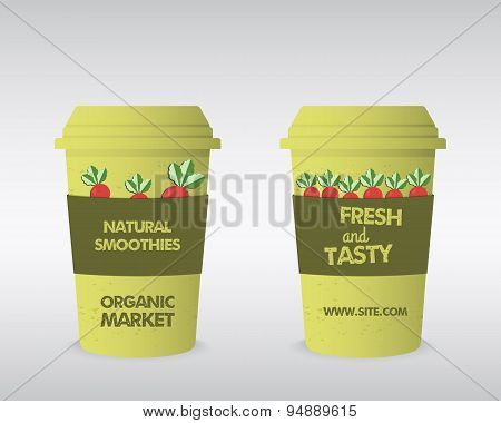Summer Farm Fresh cup template. Stylish Mock up design with shadow. Best for natural shop, organic f
