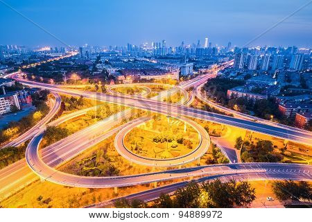 Beautiful Interchange Road At Night
