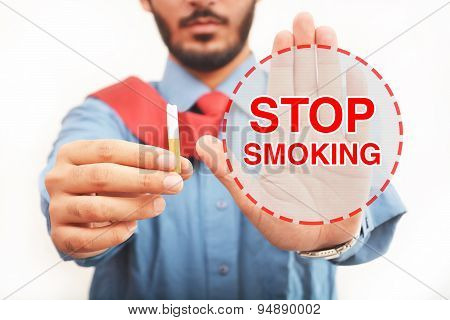 Men Quit Smoking Sign