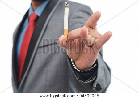 Men throw away cigarette gesture
