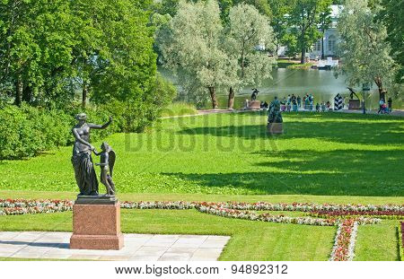 Tsarskoye Selo (Pushkin). Saint-Petersburg, Russia. The sculpture in the Catherine Park and the Grea