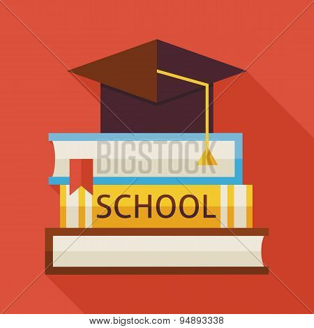 Flat Graduation From School With Hat And Books Illustration With Shadow