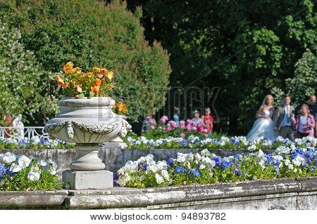 Tsarskoye Selo (Pushkin), Saint-Petersburg, Russia. Fragment of the Fountain-Vase in the Private Gar