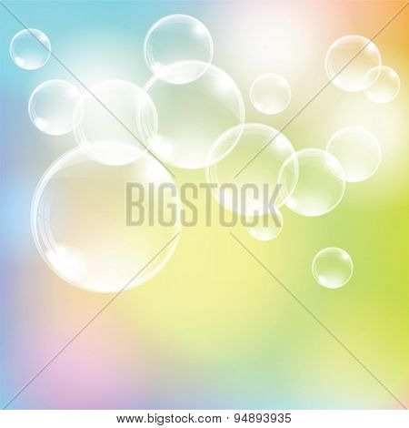 Abstract Colorful Background With Transparent Glass Balls.