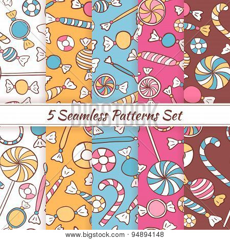 Sketch Doodle Candies Sweets Seamless Patterns Set