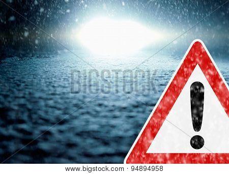 Winter Night Driving - Winter Road - Caution