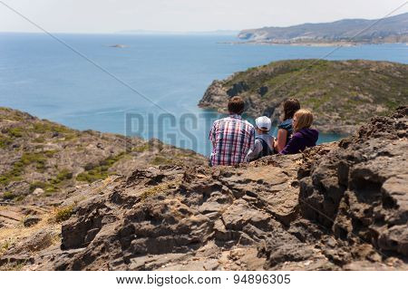 CAP DE CREUS, CATALONIA, SPAIN - MAY 30: Family are enjoying beautiful view of  Cap de Creus in Cata
