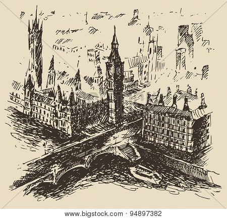 London England vintage hand drawn sketch vector