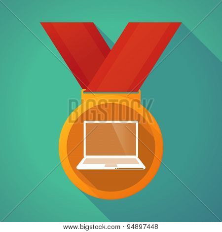 Long Shadow Medal With A Laptop