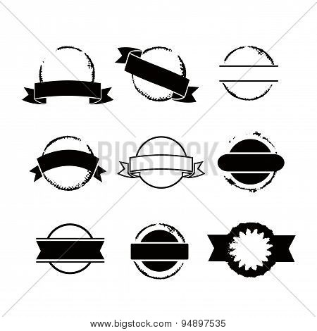 Round Stamps With Ribbons Set Vector