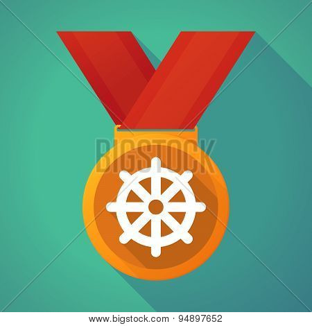 Long Shadow Medal With A Dharma Chakra Sign