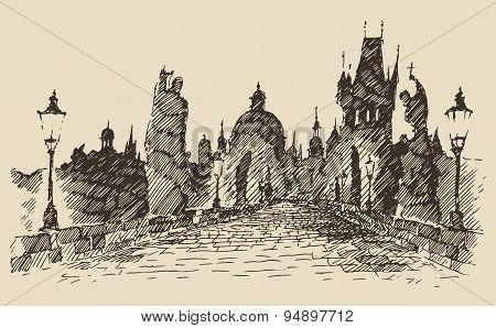 Charles Bridge Prague Czech Republic vintage