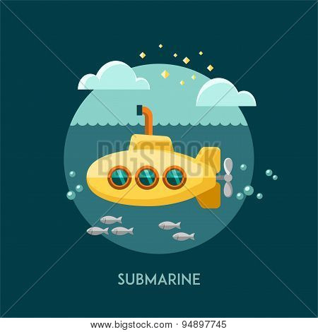 Submarine. Vector illustration.