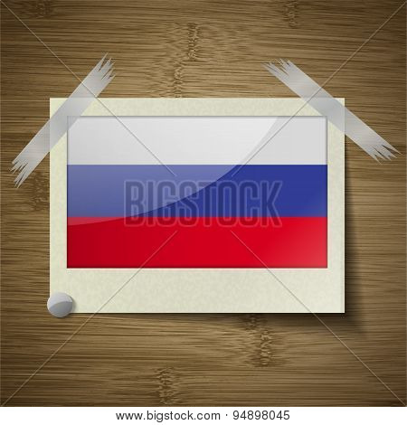 Flags Russia At Frame On Wooden Texture. Vector