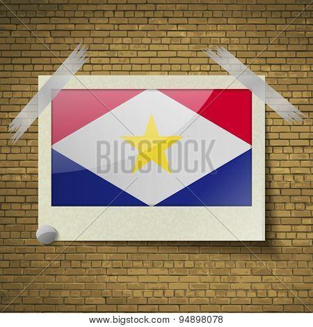 Flags Sabaat Frame On A Brick Background. Vector