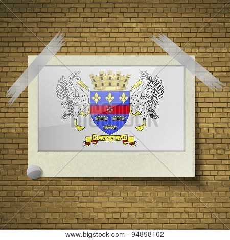 Flags Saint Barthelemyat Frame On A Brick Background. Vector
