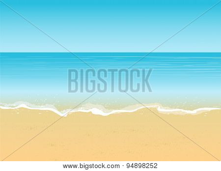 Seaside view with an umbrella, beach chair and a pair of flip-flops. Summer vacation concept backgro
