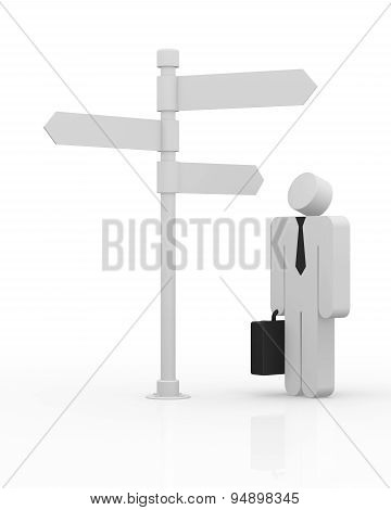 Man Standing In Front Of A Road Signs