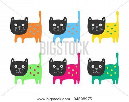 Color Cats Set, Vector Illustration