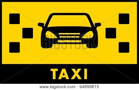 Taxi Cab Icon With Car And Yellow Backdrop