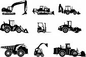 picture of machinery  - Silhouette illustration of heavy equipment and machinery - JPG