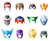 picture of mask  - Vector super hero masks for face character in flat style - JPG