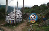 stock photo of sanscrit  - mani stone in nepal - JPG