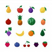 pic of blackberries  - Vector Icons Fruits and Berries in Flat Style Set Isolated over White with Apple - JPG