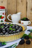 image of blackberries  - Tart with cream and fresh blackberries on wooden table - JPG