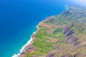 stock photo of na  - beautiful aerial view from helicopter at na pali coast at kauai hawaii - JPG