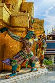 image of guardian  - Guardian statue at Temple of the Emerald Buddha - JPG