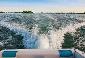 foto of boat  - Pleasure Boating on the south Detroit River - JPG