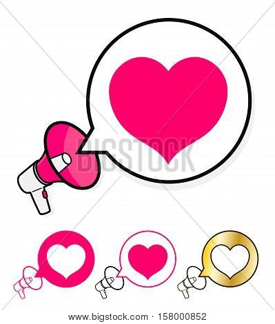 Megaphone with speech bubble and heart icon in a concept of announcing love romance wedding anniversary or Valentines for use as a vector design element isolated on white vector illustration
