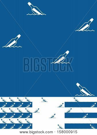 Set of Message In A Bottle seamless background patterns in nautical blue and white with a repeat icon of a floating bottle in four assorted variations vector illustration