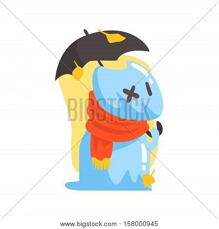 Blue Jelly Zombie Dog Monster Holding Orange Umbrela Under Falling Yellow Leaves Outdoors In Autumn Season. Part Of Autumn Fantastic Animal Creatures Set Of Funny Cartoon Vector Illustrations