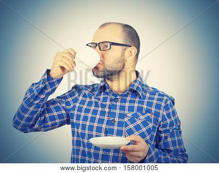 Caucasian Man Drinking Coffee