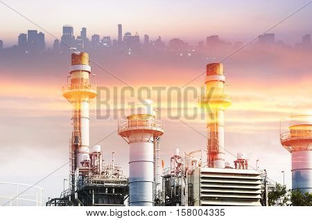 Abstract scene of the power plant factory with the lighting effect and the city building in background