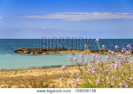 The most beautiful sandy beaches of Apulia. ITALY (SALENTO). From Torre Pali to Pescoluse the shore is made of a so fine white sand and washed by a so clear sea that it is called 'Maldive of Salento'.