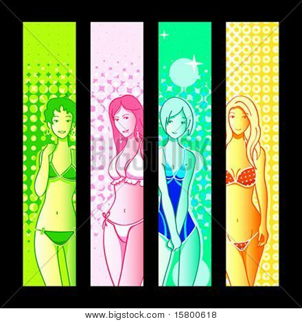 Bikini girl banner or sider backgrounds. Base banner size is 120x600.