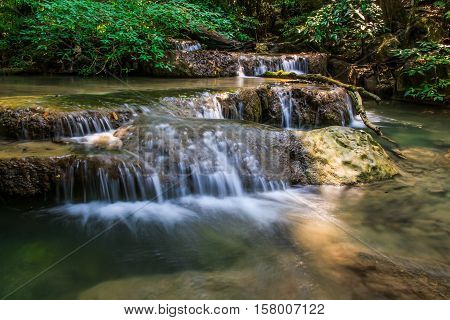 The Erawan Waterfall in Kanchanaburi Province of Thailand
